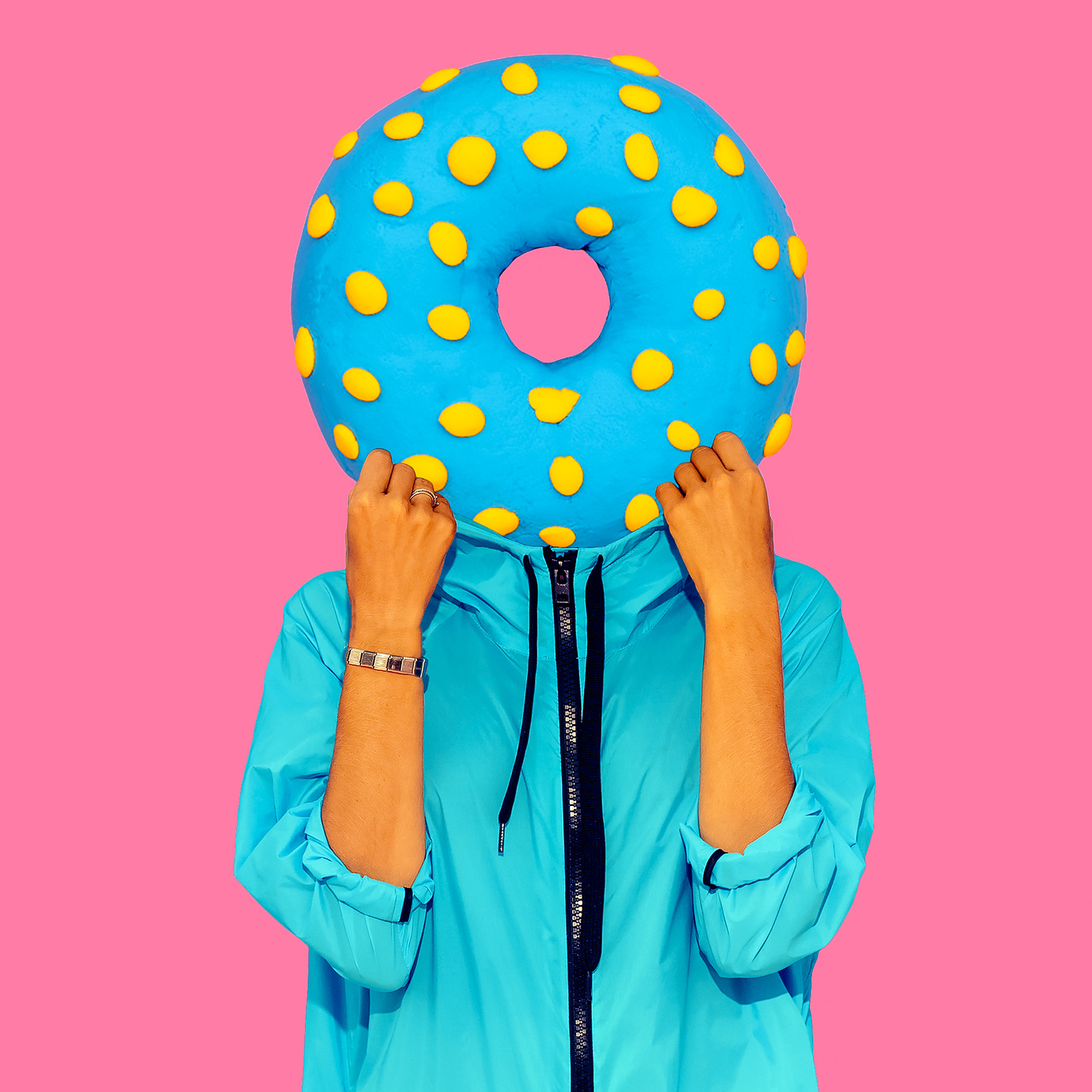 Contemporary art collage. Minimal concept.  Donut lover art